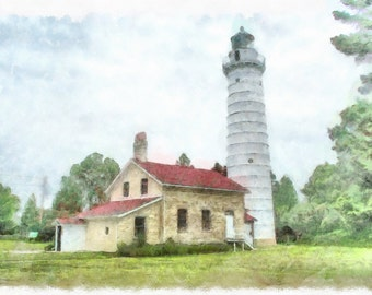 Digital Painting Cana Island Lighthouse