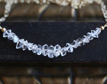 Herkimer Diamond Necklace, Herkimer Crystal Quartz  Necklace, April Birthstone Necklace, Bar Necklace, Layer Necklace, Crystal chip Necklace
