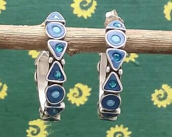 Turquoise Hoop Earring, Silver Hoop Earring, Colorful Hoop Earring, Large Hoop Earring, Crystals Hoop Earring, Ethnic Hoop Earring, Unique