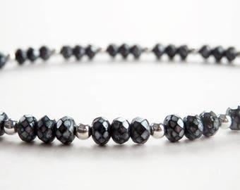 Black Czech Glass Bracelet - Black and Silver Bracelet - Small Bead Bracelet - Single Strand - Dainty Bracelet - Stacking Bracelet