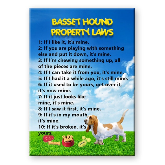 Basset Hound Property Laws Fridge Magnet No 1