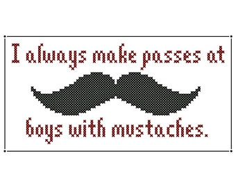 Boys With Mustaches - Original Cross Stitch Chart | Inspired by Dorothy Parker
