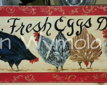 """11"""" x 36""""  #507 Chickens Hens Art on Rustic Wood PERSONALIZED"""