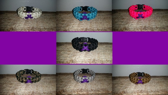 Pancreatic Cancer / Epilepsy / ADD ADHD Awareness 550 paracord survival bracelet purple ribbon