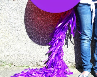 Purple Juice Giant Balloon and Tassel Tail Garland (Double Strand)