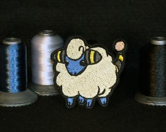 Mareep Shiny Metallic Embroidery iron on patch. Pokemon patch.