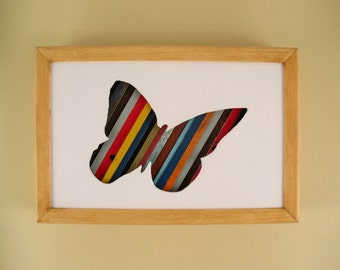 """Butterfly - 12"""" by 8"""" Recycled Wood Silhouette Wall Art"""