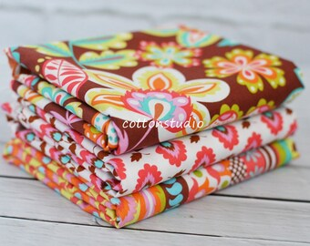 Michael Miller Fabric Fiesta Collection in Chocolate Half Yard Set Elena Evita Esme