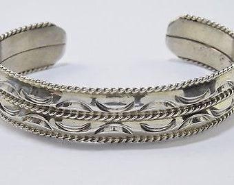 Rare 1970's-1980's Unworn Navajo M.C. Isasic Hand Stamped Cuff .925 Bracelet