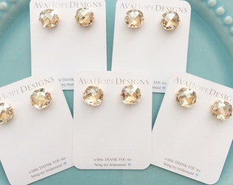 Bridesmaid Earrings, jewelry set, Gold Earrings, Swarovski Earrings, Bridesmaids Gift, Bridesmaid Earring set, Crystal Studs, bridesmaid set