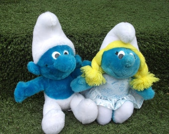 Vintage Smurf and Smurfette Peyo Plush Toy Dolls in LIKE NEW condition