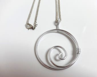 Handmade necklace with pendant Silver - Aluminum-