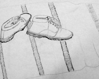 Dessin au crayon nature morte de randonnée d'hiver bottes 14 x 11 imprimer