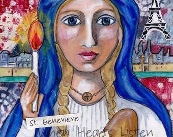 St. Genevieve, patron saint of Paris, patron saint against diseases, saint art, religious art, confirmation gift, wall decor, folk icon