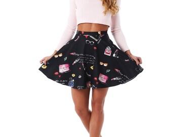 Full Skirt,  Circle Skirt, Elegant Skirt, Funky Skirt, Retro Skirt, Party Skirt, Sun Skirt, summer skirt, 2016 skirt, lipstick print skirt,