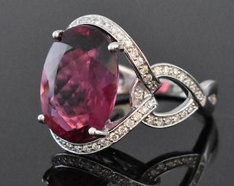 18K White Gold Pink Tourmaline & Diamond Ring | Engagement Ring | Wedding Ring | Statement Ring | One of a Kind Ring | Diamond Halo |
