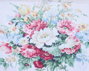 Cottage Spring Garden Floral English Pink Cabbage Roses  on a White Vintage Fabric 30s 40s Decorative Throw Pillow Cushion