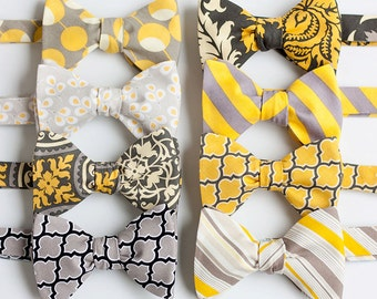 Bow Ties, Bow Tie, Bowties, Mens Bow Ties, Freestyle Bow Ties, Self-Tie Bow Ties, Groomsmen Bow Ties, Ties, Tie - Grey And Yellow Collection