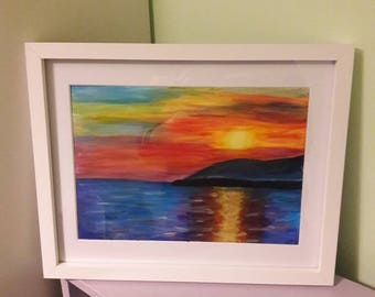 Sunset over the water, landscape painting, sunrise, sunset, colourful sky original A4 acrylic painting or print