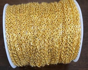 300 pi de plaqué or câble plat chaîne 2X3mm dessoudé, chaîne en or