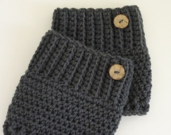 Crochet Boot Cuffs Button Accent Crochet Boot Topper Leg Warmer in Charcoal Grey - Ready to Ship  - Direct Checkout - Gift for Her