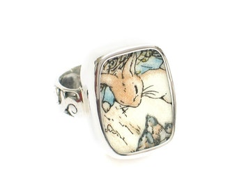 Size 9 Broken China Jewelry Beatrix Potter Peter Rabbit Visiting Birds Sterling Ring
