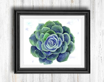 Watercolor Blue and Green Cactus Flower - Digital Download