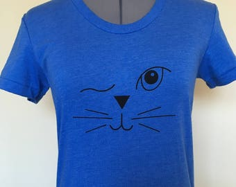 Cat Shirt-Cat T Shirt-Cat Face-Winking Cat Face-Cat Lover Shirt-Womens T Shirt-Cat Lady