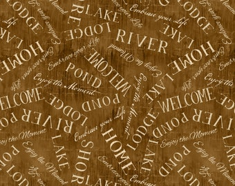 Lakeside Retreat brown words from Wilmington Fabrics by artist Daphne B