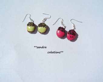 Earrings tassel salambo lime green Fuchsia