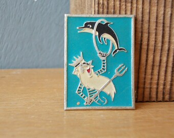 Vintage Pin Dolphin / Soviet BADGE / Vintage Brooch / USSR 80's / Animal
