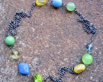 Eco-Friendly Statement Necklace - It's Summer Somewhere - Recycled Vintage Steel Chain with Colorful  Beads in Bright Yellow, Green and Blue