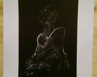 A3 sized signed print of my original drawing of a Howling Wolf
