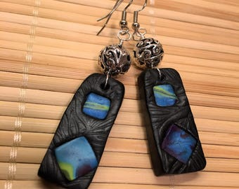 Black and Silver Polymer Clay Textured Dangle Earrings - Unique Textured Jewelry Gift for Mom Mother Wife Girlfriend Anniversary Prom