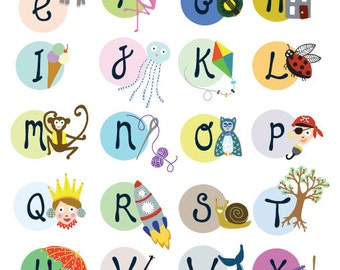 ABC poster for kids room, Alphabet with animals and objects, educational ABC print for children