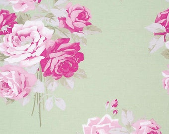END OF BOLT - 2 Yards - Slipper Roses Fabric - Rose Green by Tanya Whelan for Free Spirit Fabric - Tanya Whelan Fabric - Shabby Chic Fabric