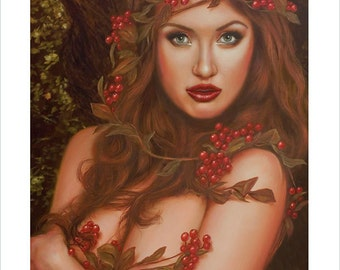 Fantasy Art Female Nude Goddess Portrait by award winning artist John Silver. Personally signed A4 or A3 size Print. Mature image. FA009SP