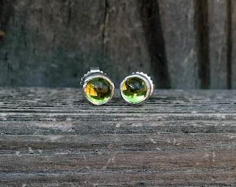 Peridot Post Earrings - Peridot Stud Earrings - Green Earrings - August Birthstone Earrings - Gemstone Earrings - Peridot Jewelry - Green