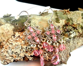 Pink and Silver Boho Dangle Earrings Vintage Boho Earrings Pink Bead and Rhinestone Earrings Pink Earrings Costume Jewelry