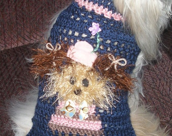 FUZZY has a GIRLFRIEND - dog sweater - Many colors -Westie face avail-2 to 20 lb dogs
