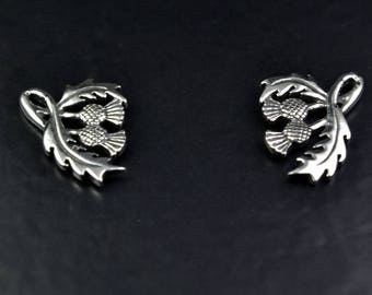 Sterling Silver Studs with a Scottish Thistle