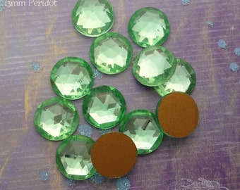 Vintage Cabochons - 13 mm Facet Peridot -  6 West German Faceted Glass Stones