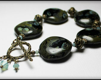 Olivia... Handmade Jewelry Bracelet Beaded Black Moss Olive Green Aqua Antique Brass Ceramic Beads Crystal Earthy Organic