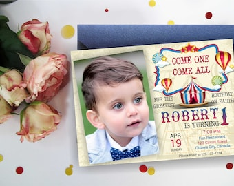Vintage Circus Birthday Invitation. Elegant Circus. Carnival Birthday Party. Any color. Circus invite with/without photo. Any Age. Digital