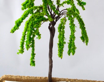 Bright Green Weeping Willow Miniature Tree Garden Plants Terrarium Doll House Ornament Fairy Decoration  AZ420164
