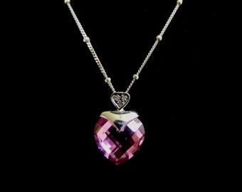 Women's Vintage Estate Sterling Silver Necklace & 10k Heart Pendant 4.4g #E1611