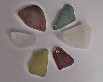 Top drilled sea glass - genuine sea glass- Mixed colored sea glass pendants.