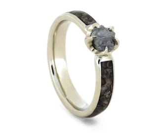 Raw Diamond Engagement Ring,  Dinosaur Bone Ring in 14k White Gold, Unique Fossil Jewelry