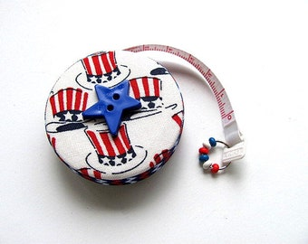 Tape Measure Red White and Blue Patriotic Hats Retractable Measuring Tape