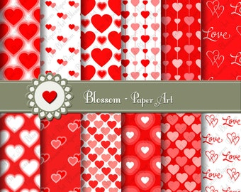 Red Digital paper Hearts Digital Paper Pack, Love Valentines Digital Paper, Scrapbooking - DIY Projects - 1608